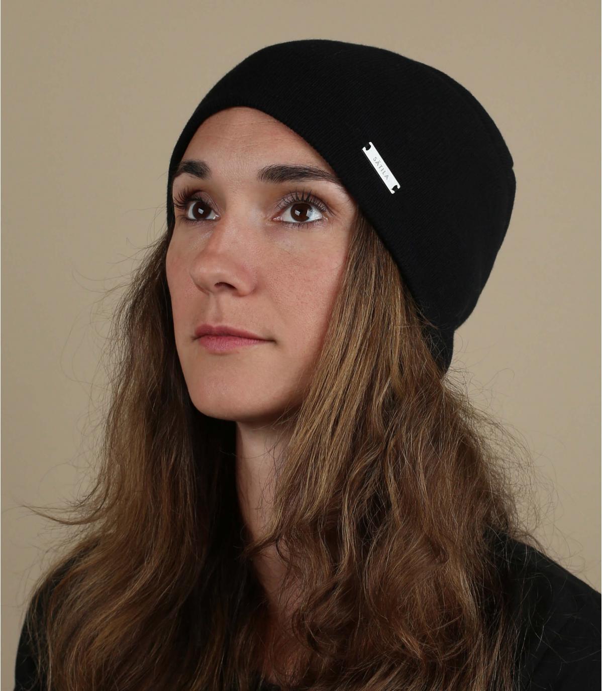 cappello lungo in cotone organico nero