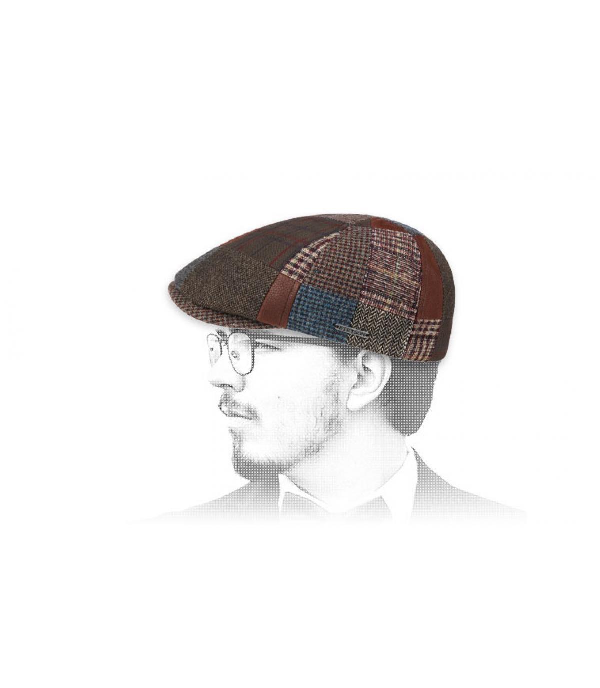 pelle di lana patchwork berretto