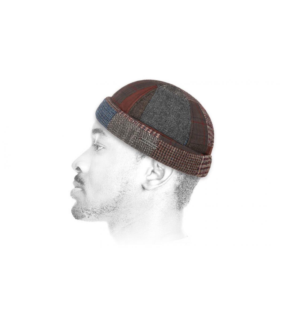 pelle di vacchetta patchwork cappello di lana