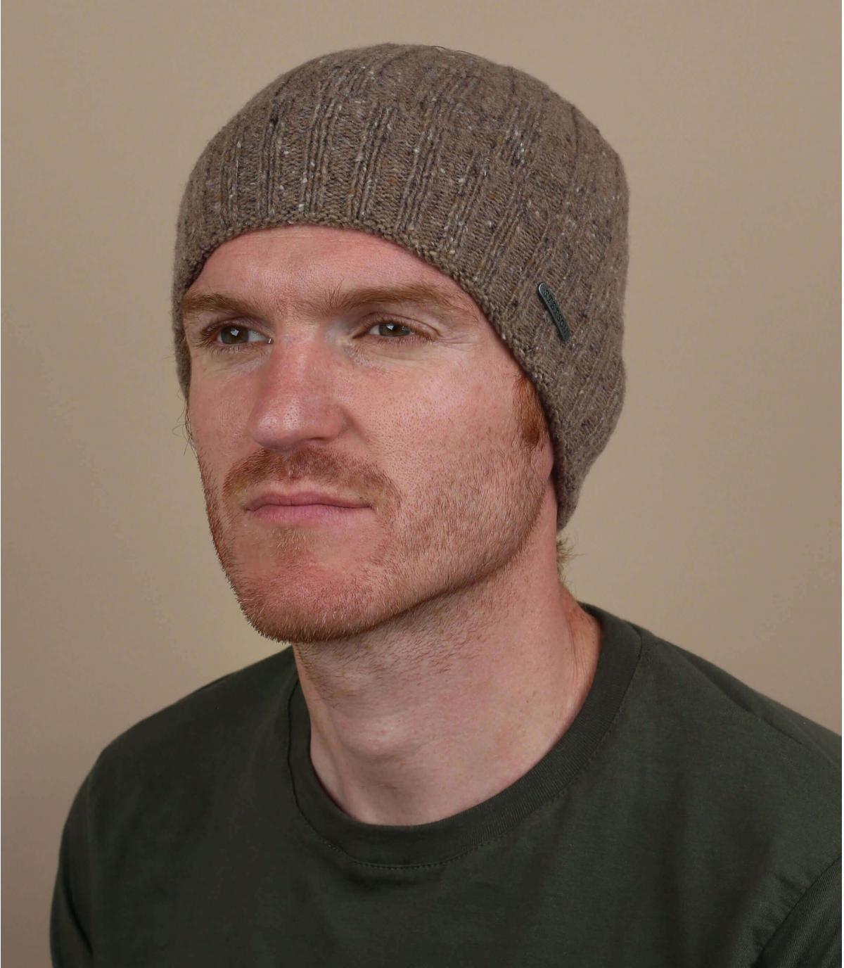 risvolto per cappello di lana marrone