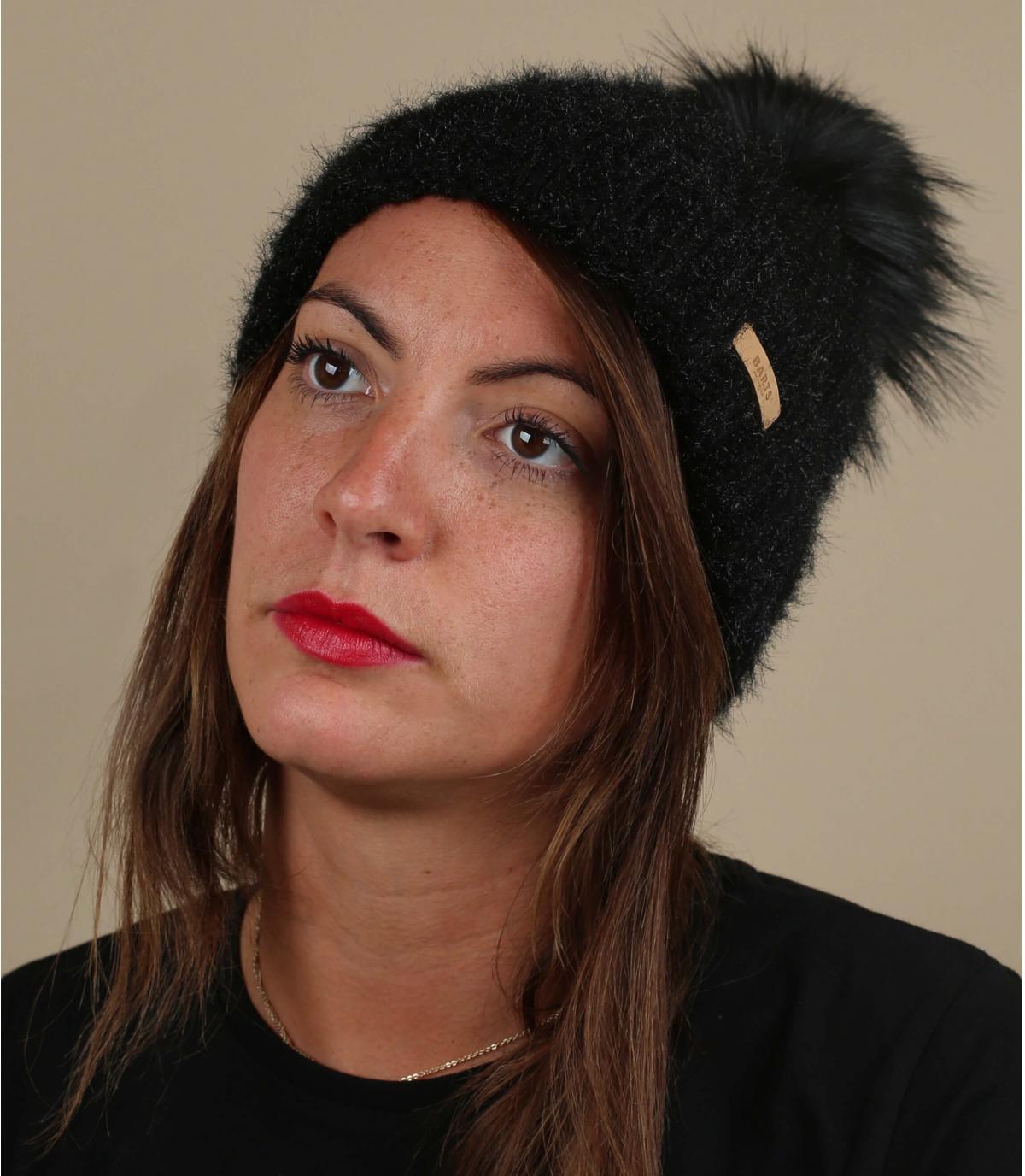 cuffia con pompon in pelliccia nera