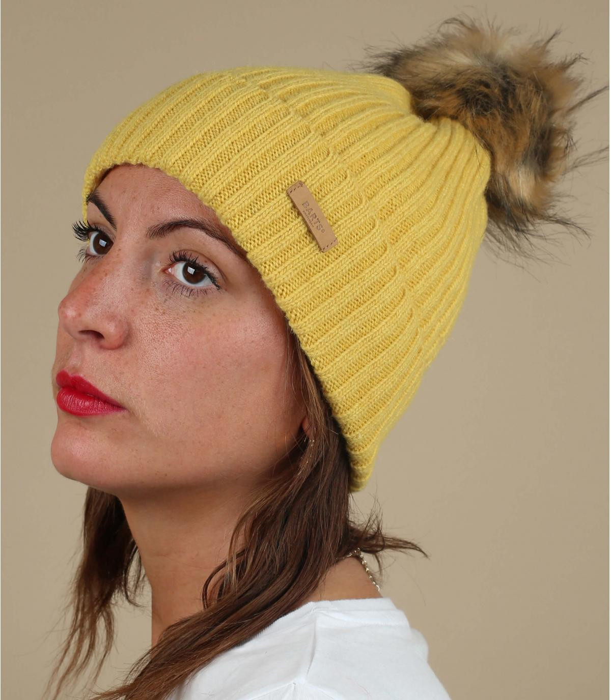 pelliccia di nappa gialla lana cofano