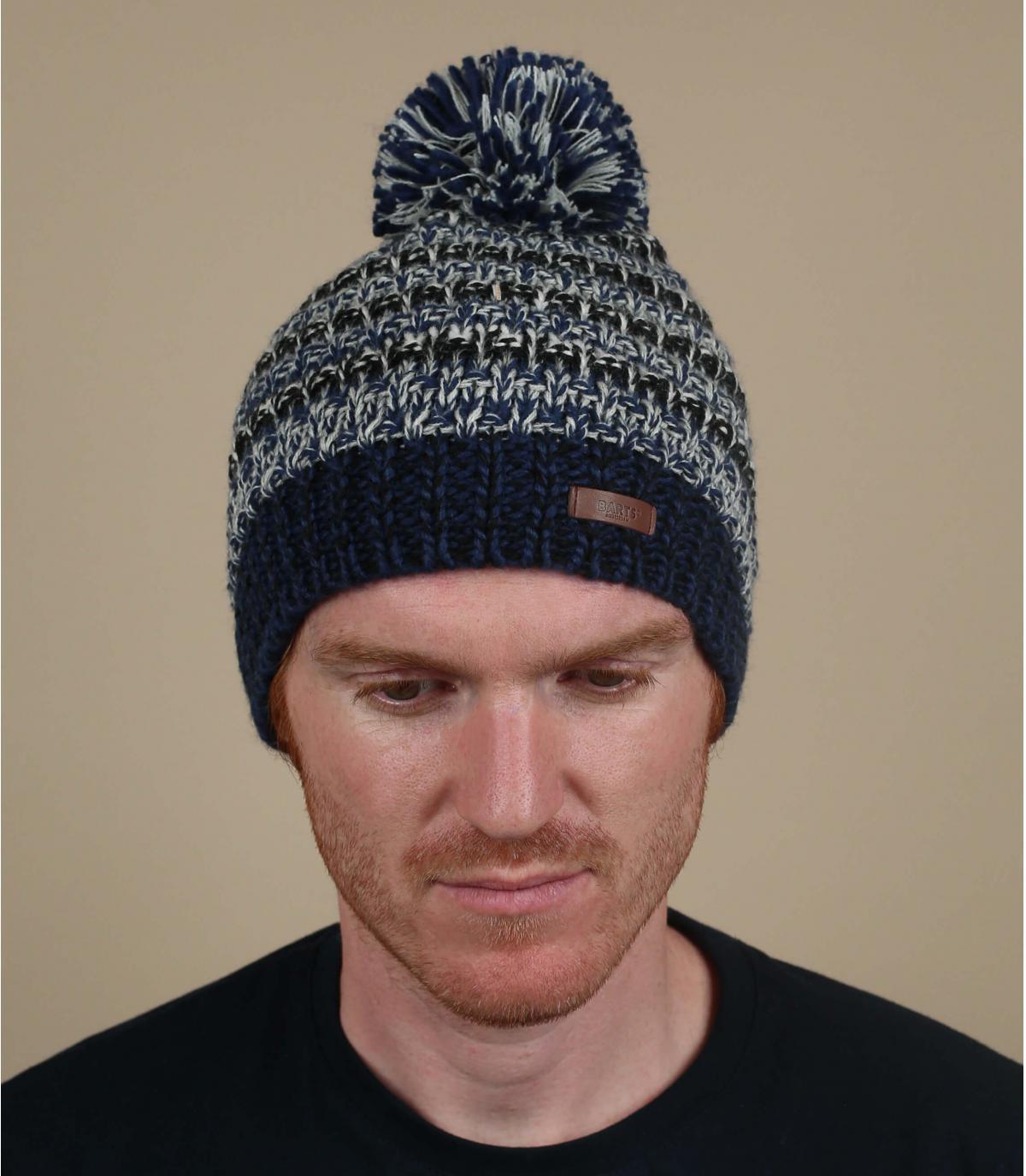 cappello a strisce blu grigio