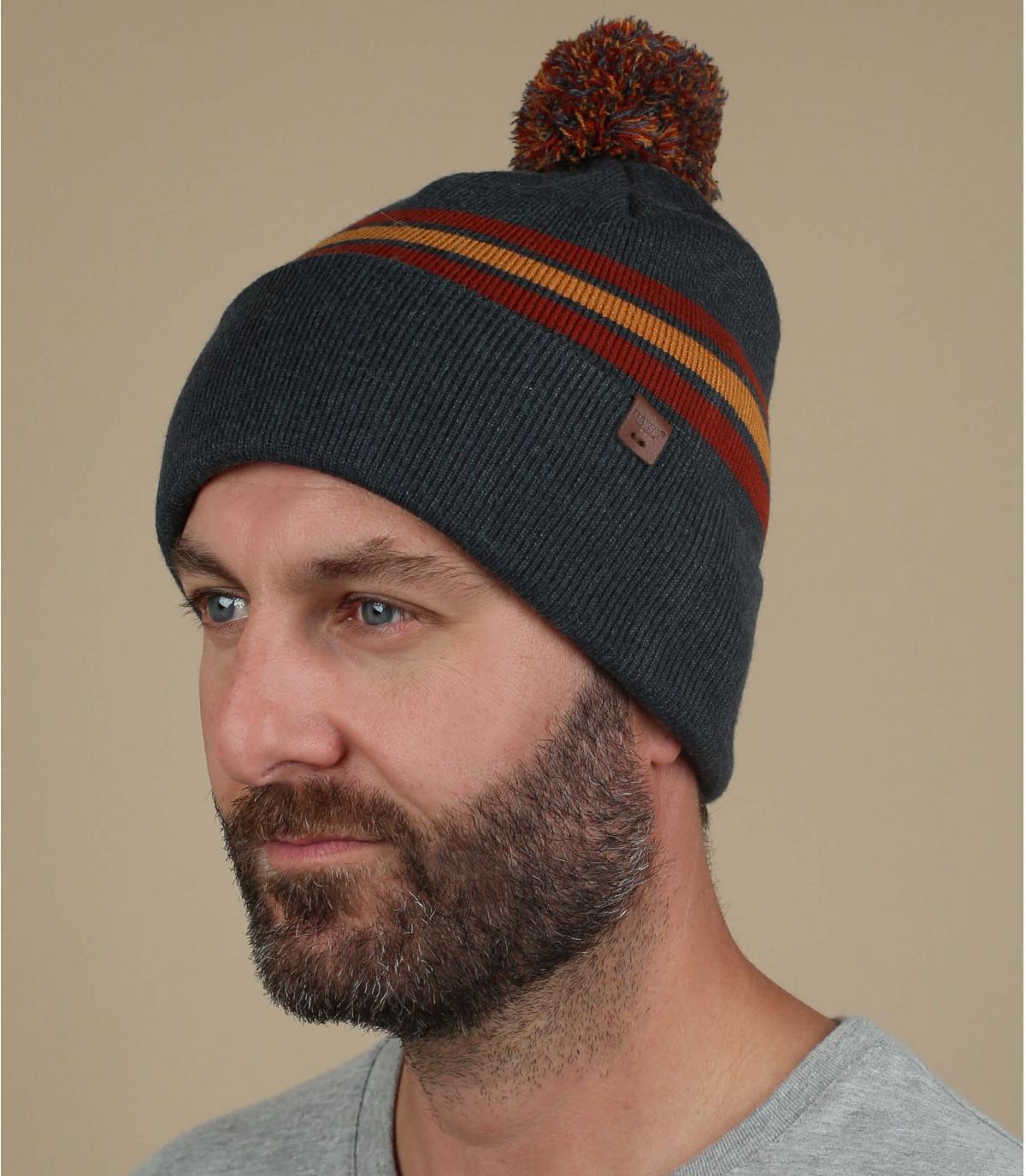 cappello pompon rosso grigio