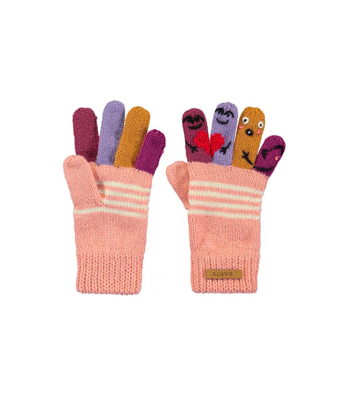 guanti bambino fantoccio rosa