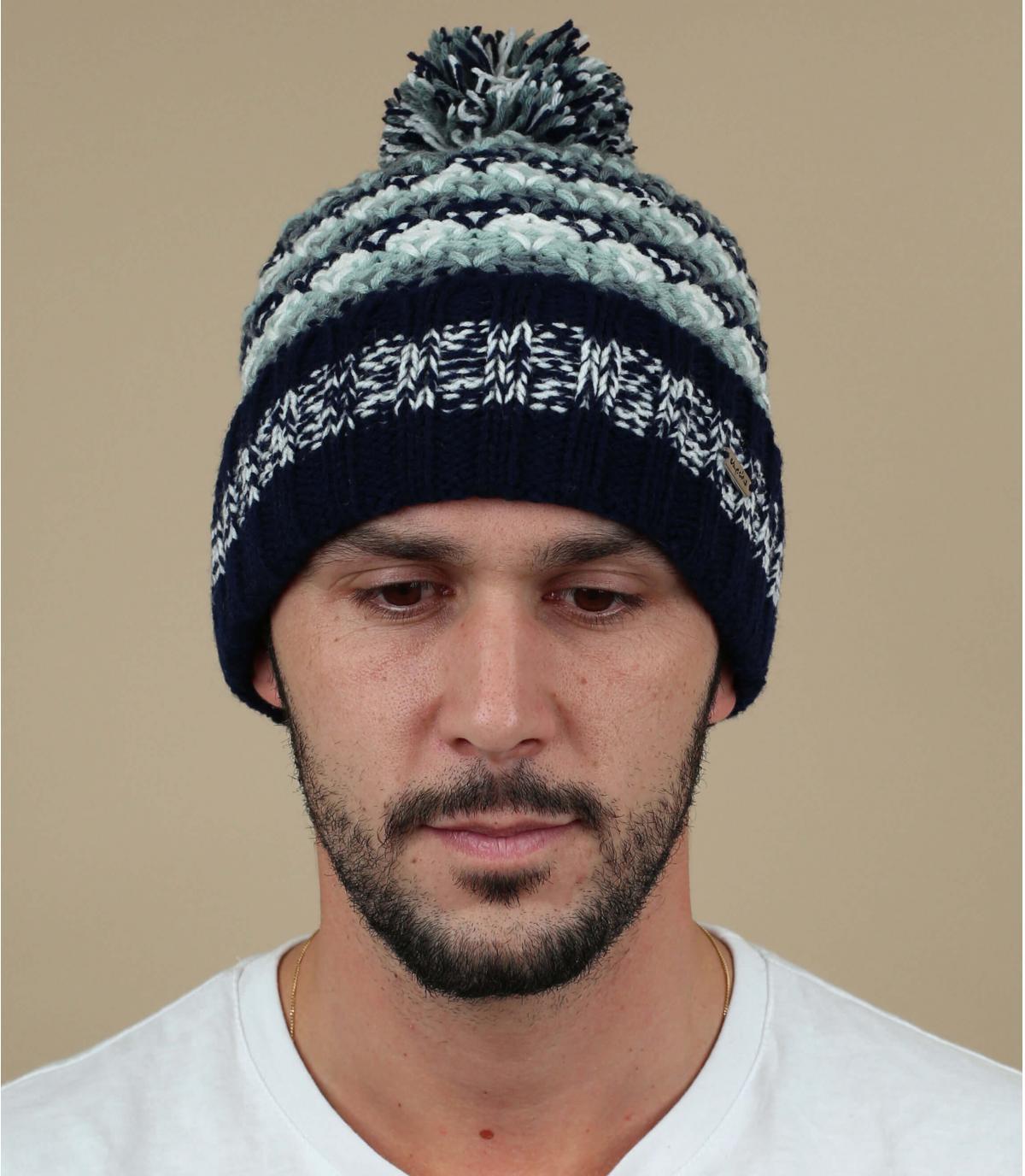 cappello pompon grigio caldo