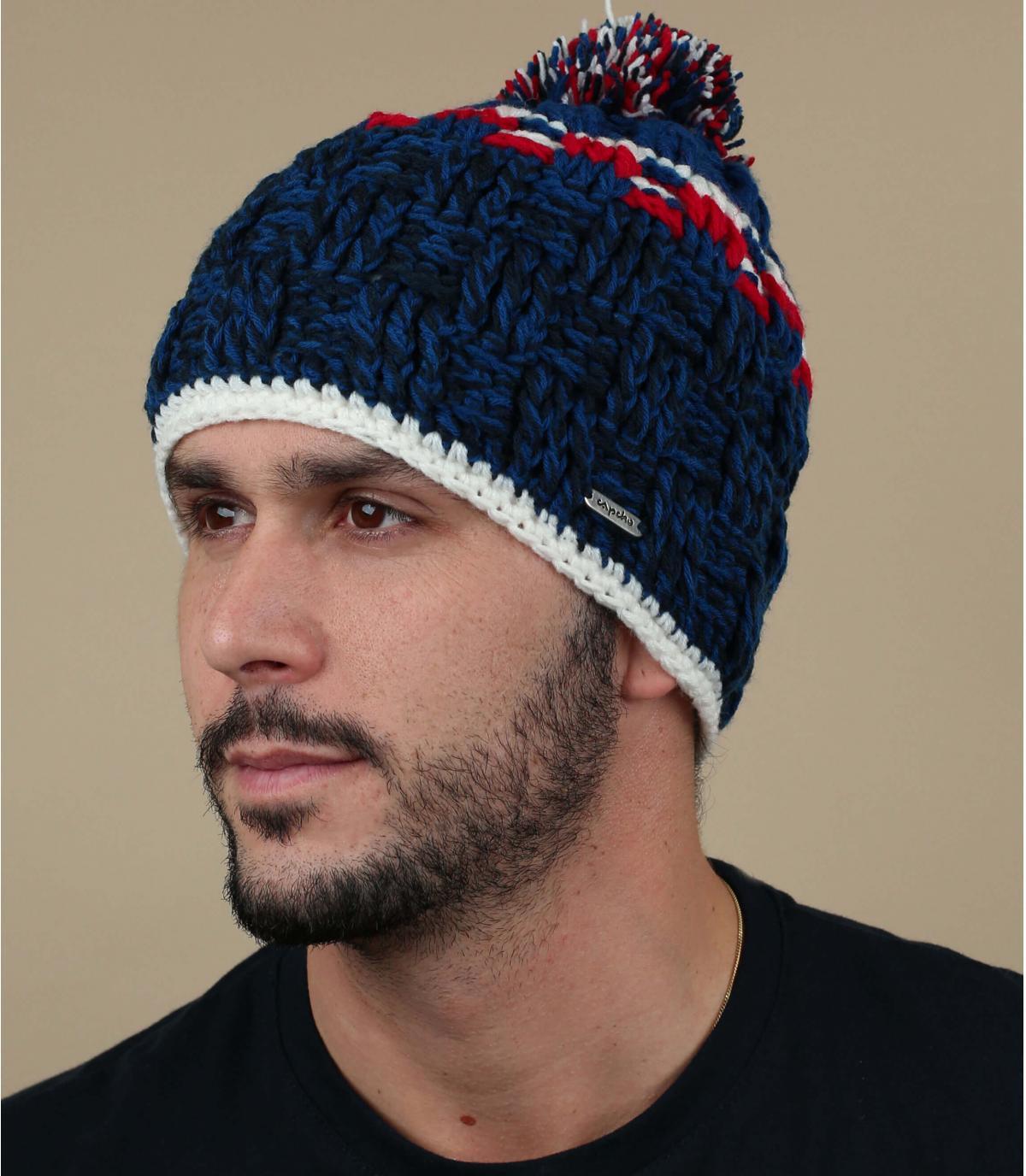 Cappello pompon blu Capcho