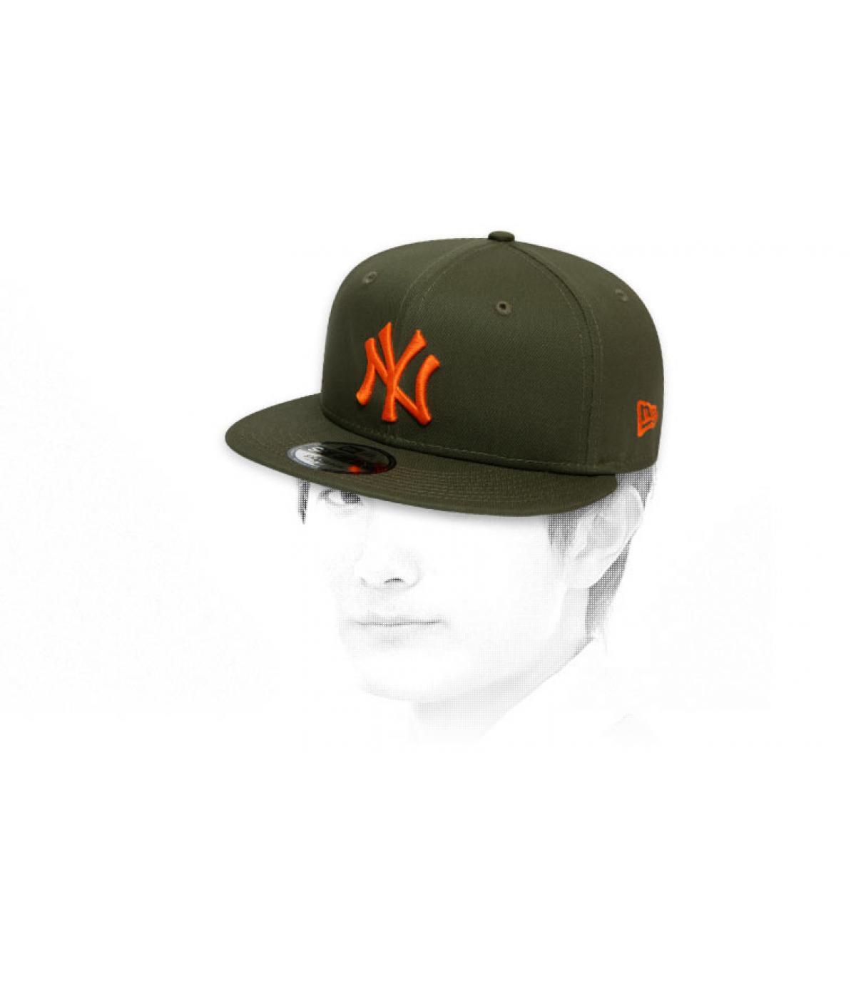 snapback NY arancione kaki