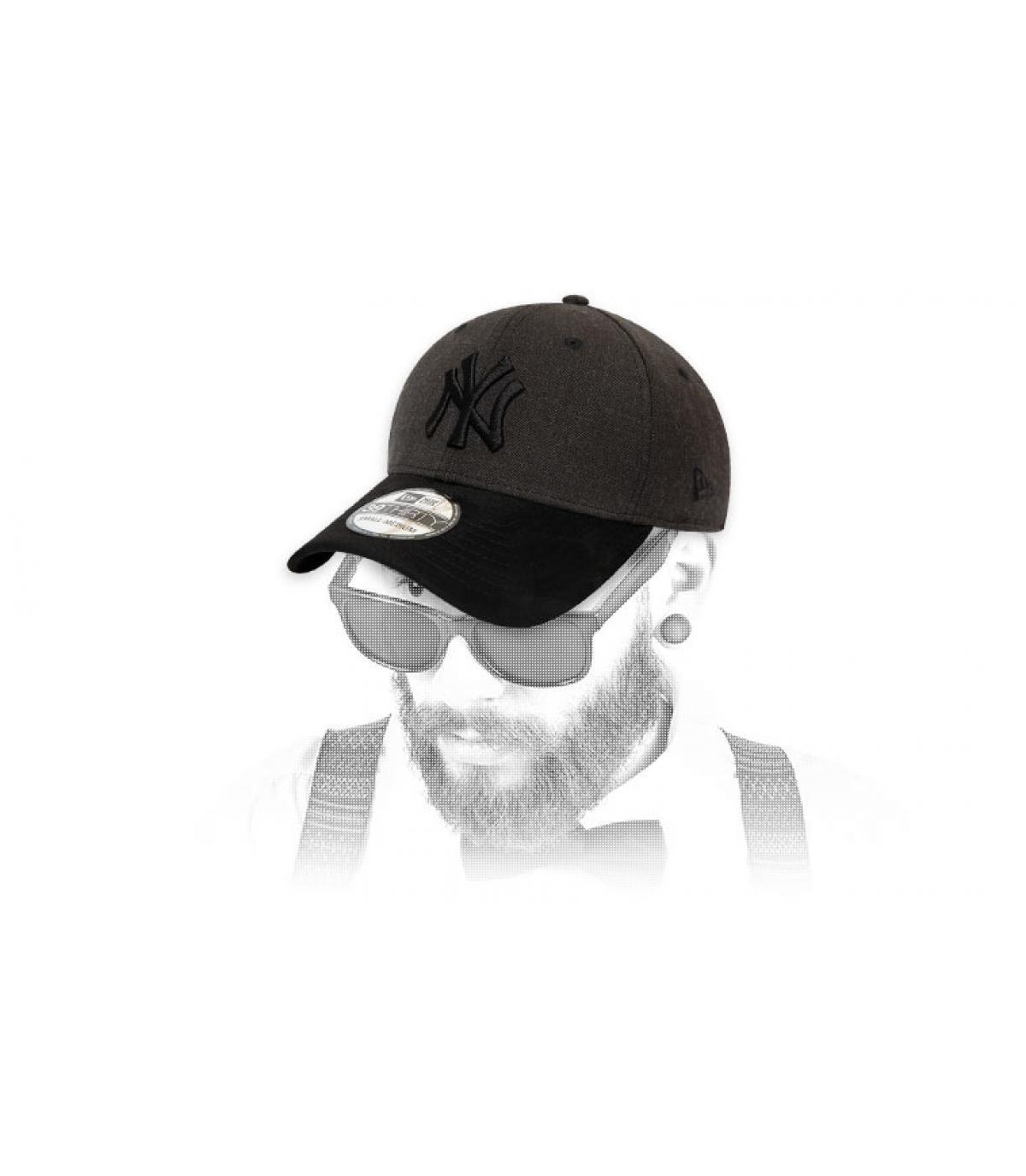 cap NY grigio camoscio nero