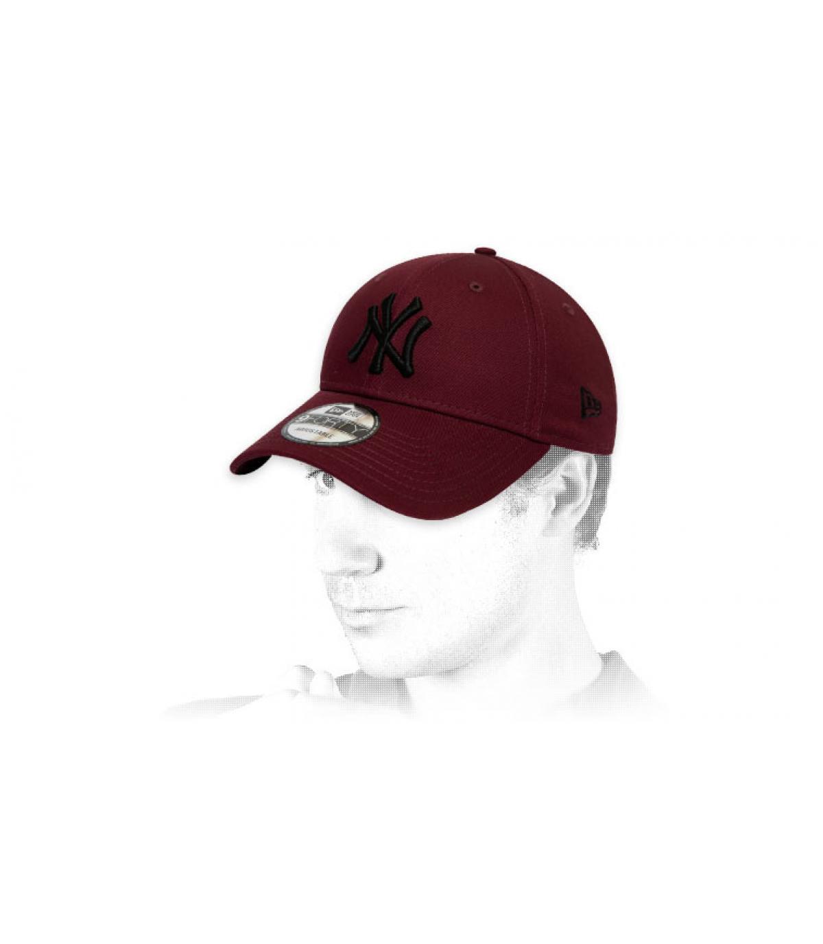 cappellino NY bordeaux nero