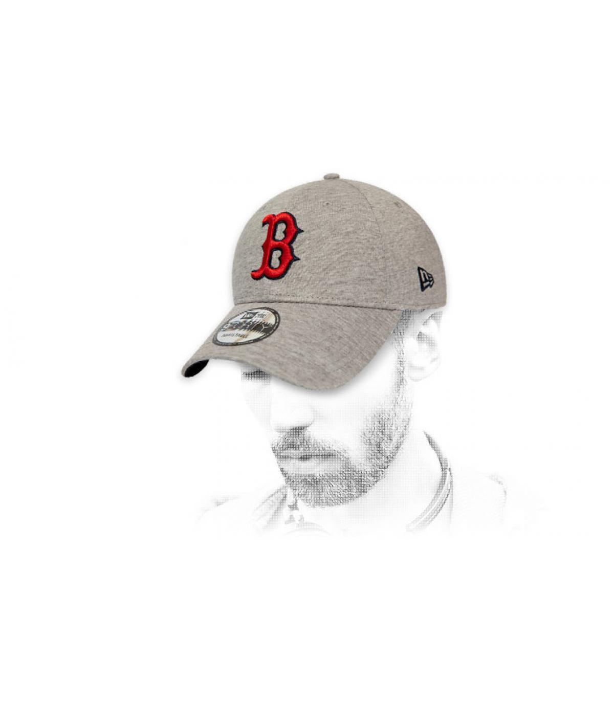 cappuccio grigio rosso B