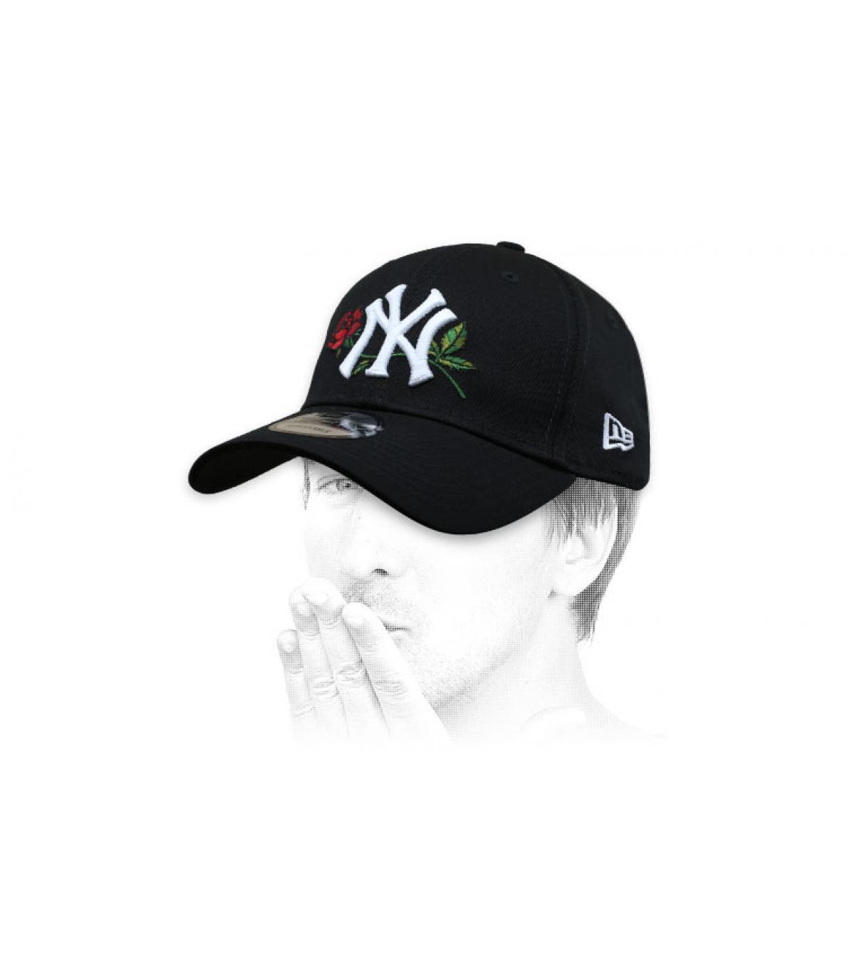 cappellino NY nero rosa