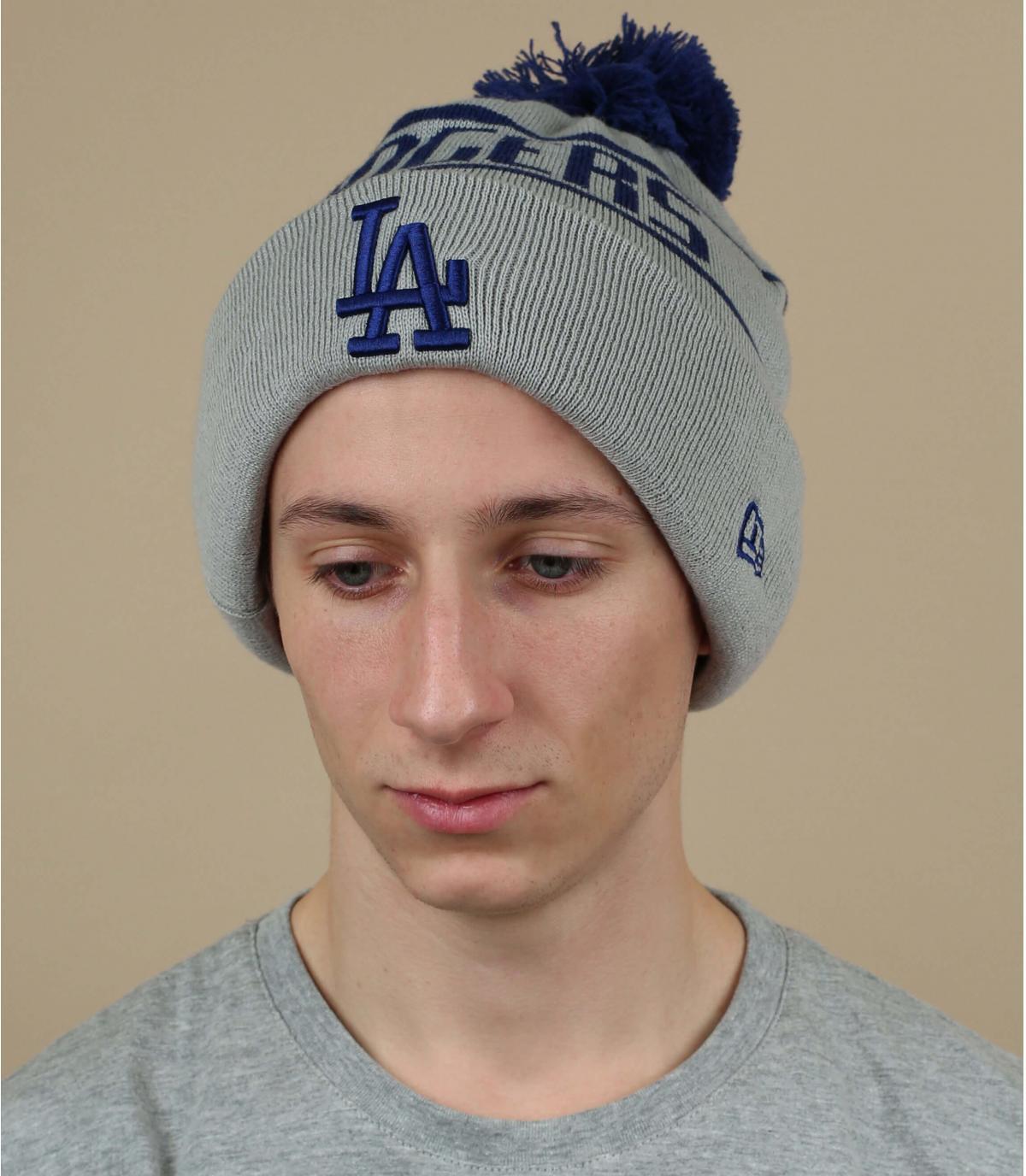 cappello Dodgers pompon grigio