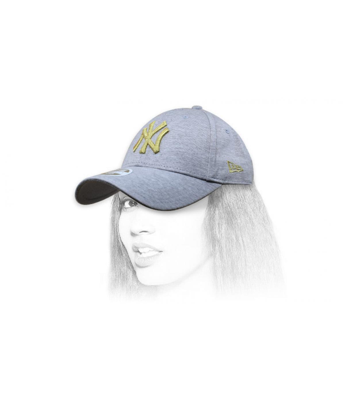 berretto donna NY grigio oro