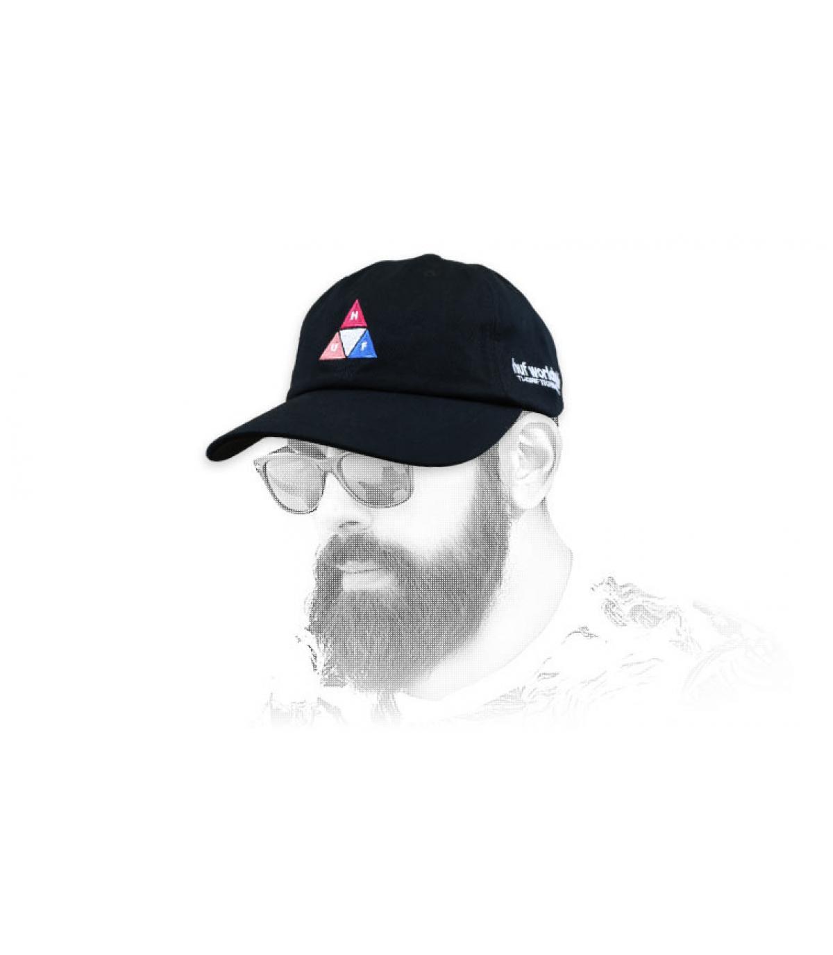 Cappellino nero con logo Huf