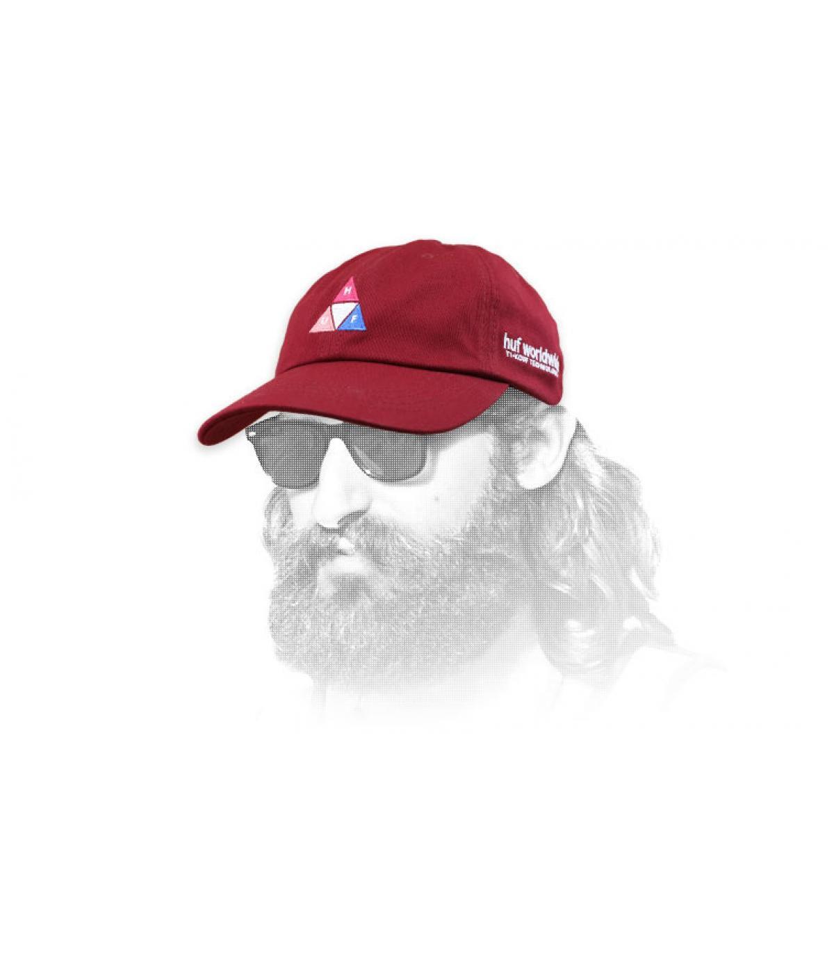 Cappello triangolare con logo Huf bordeaux