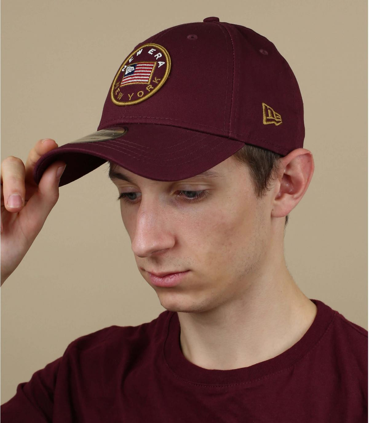 cappello bordeaux bandiera americana