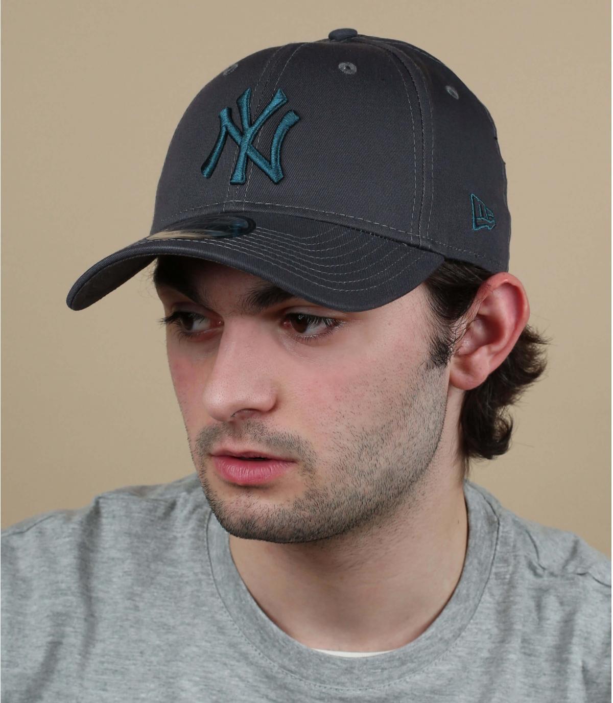 Cappellino NY grigio blu