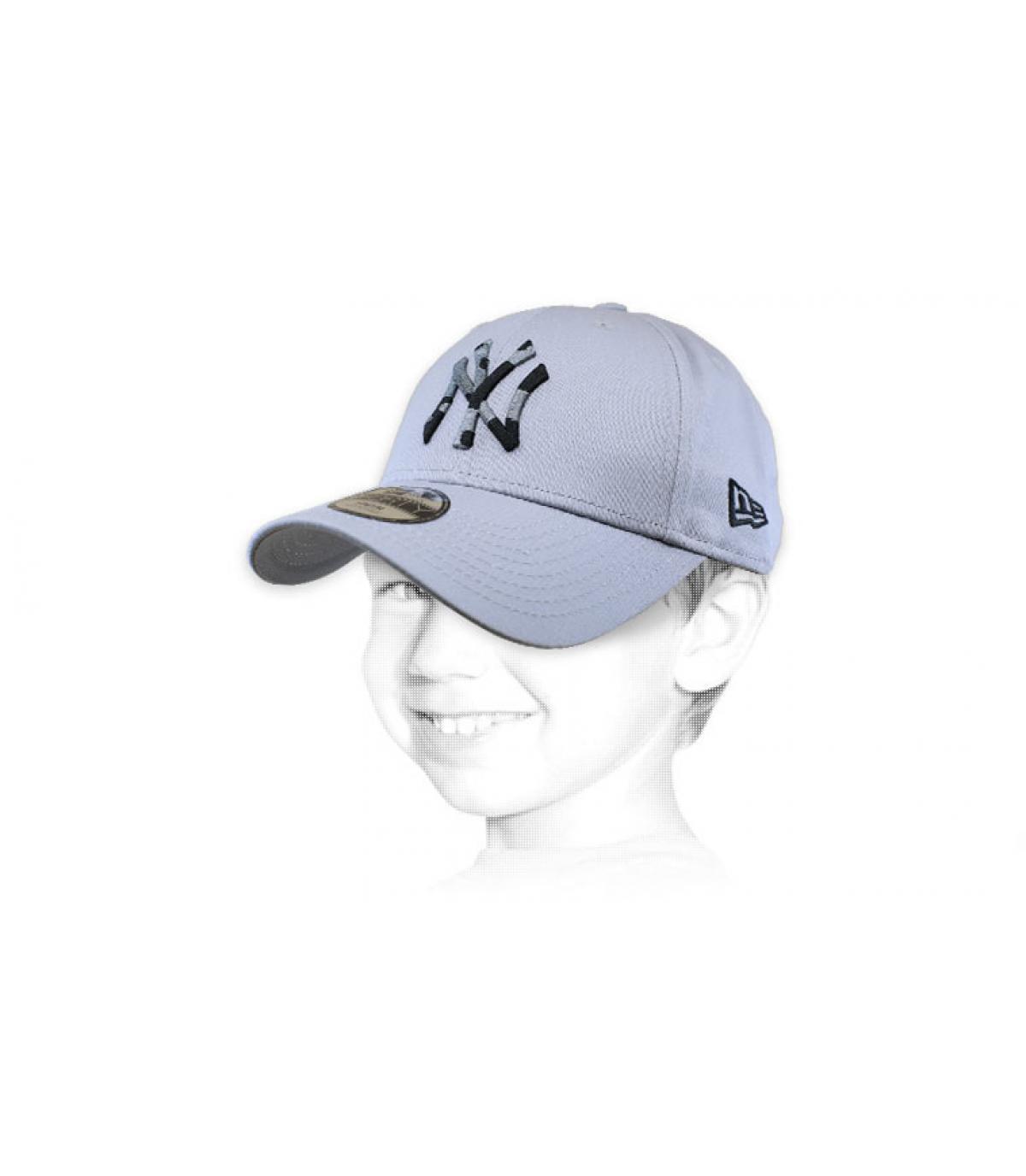 cappellino bambino NY grigio mimetico