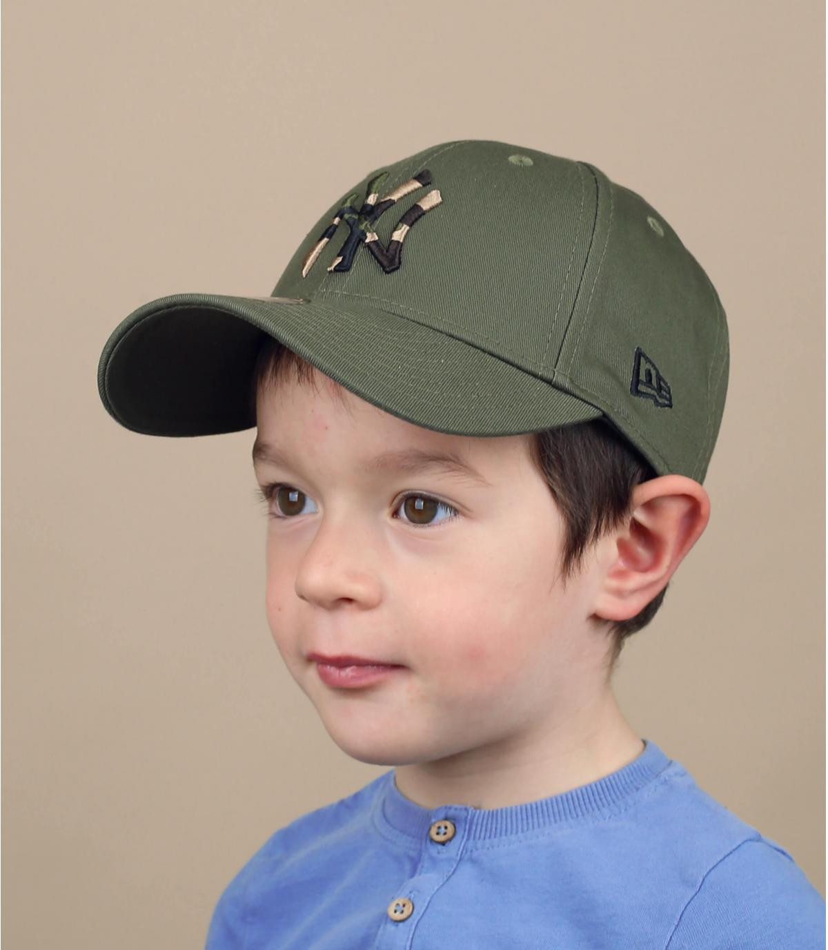 cappellino bambino NY verde mimetico