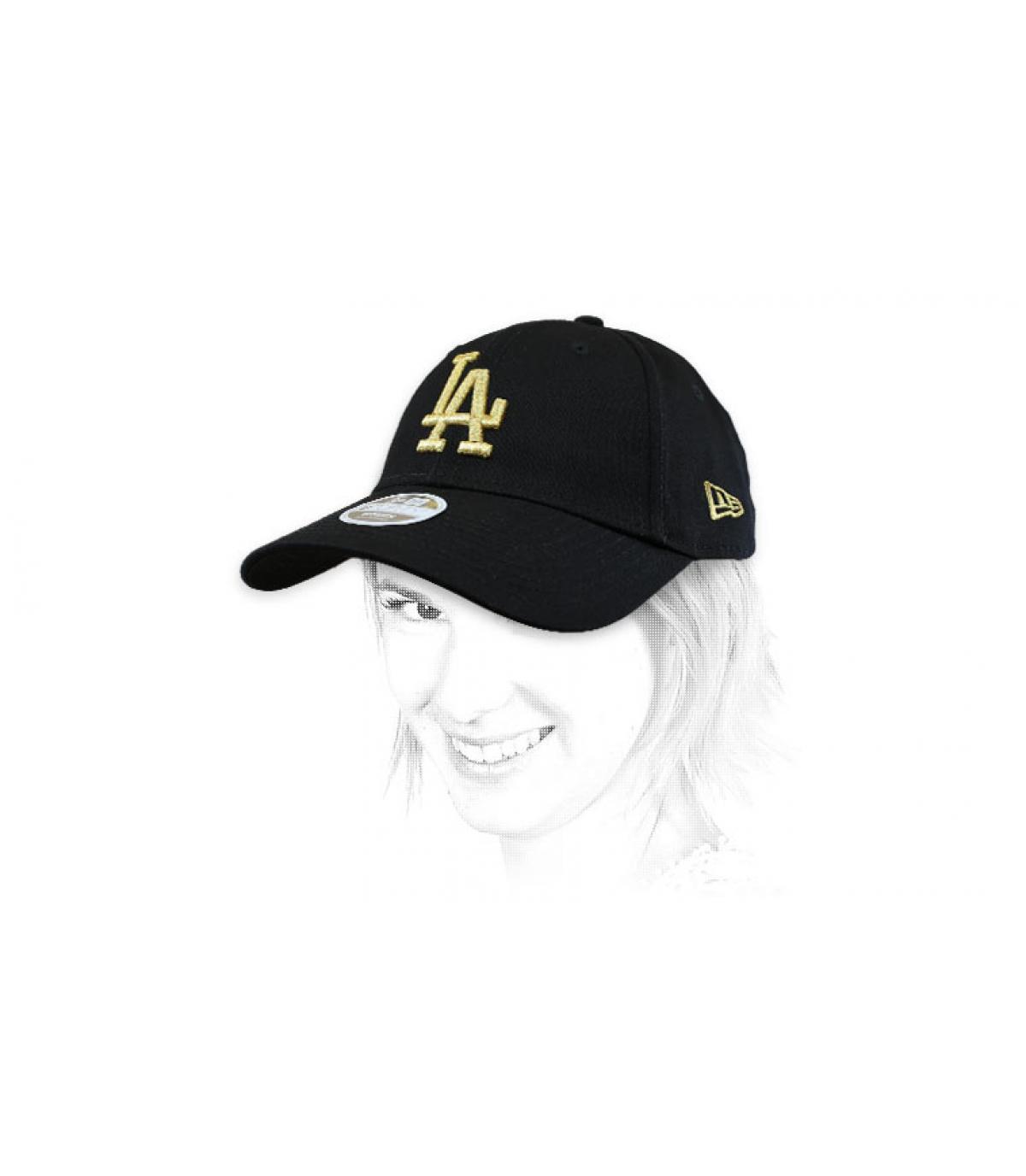cappello donna LA nero oro