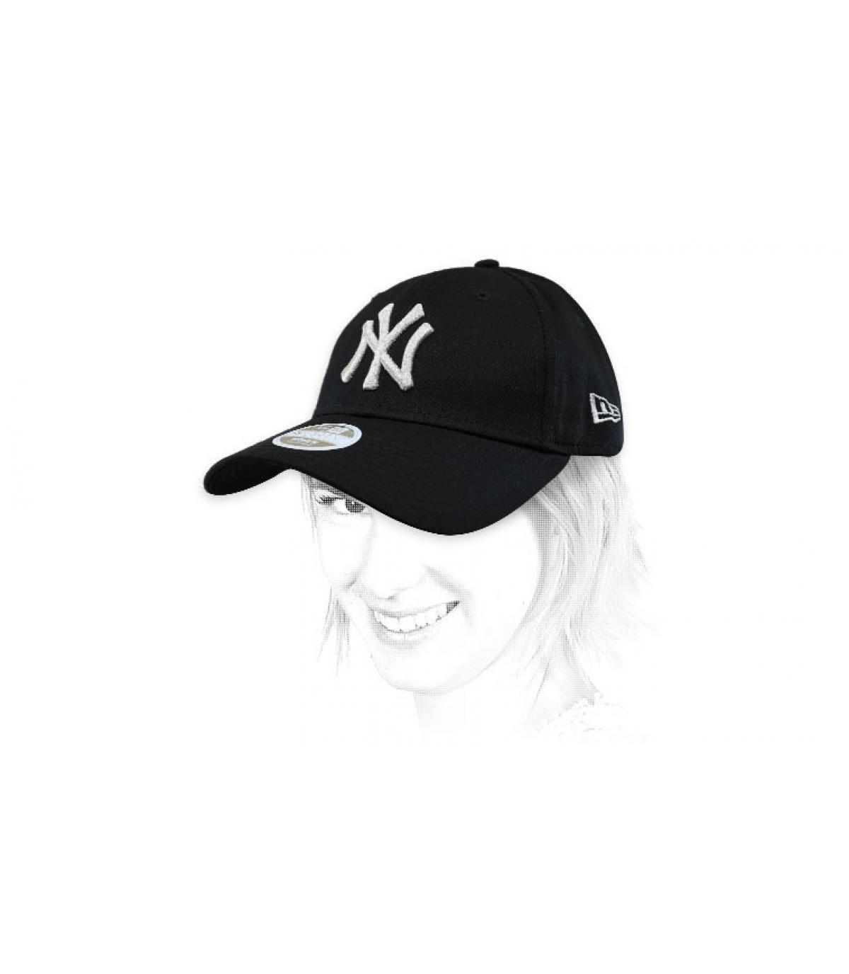 cappello donna NY nero argento