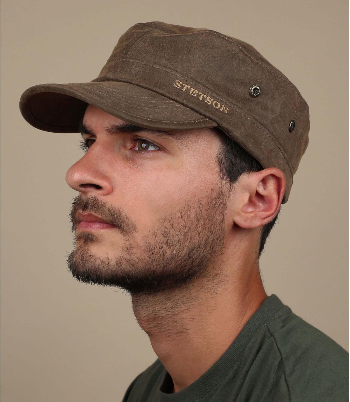 berretto di cotone marrone militare