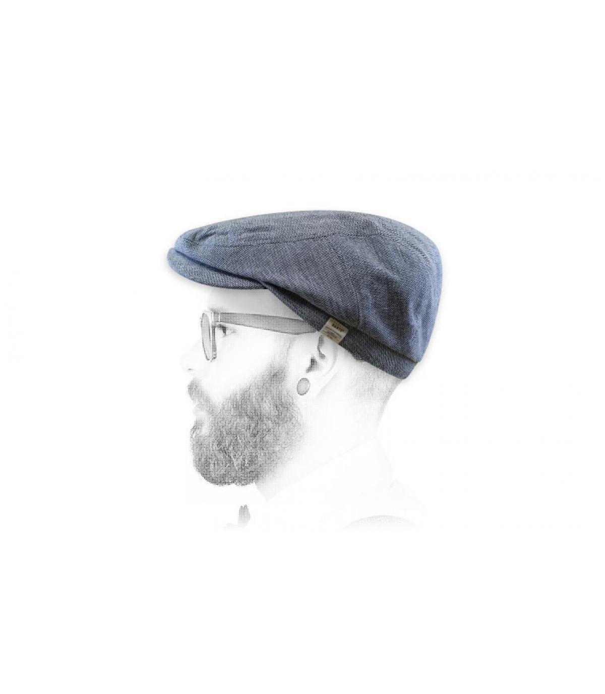 berretto di cotone di lino blu