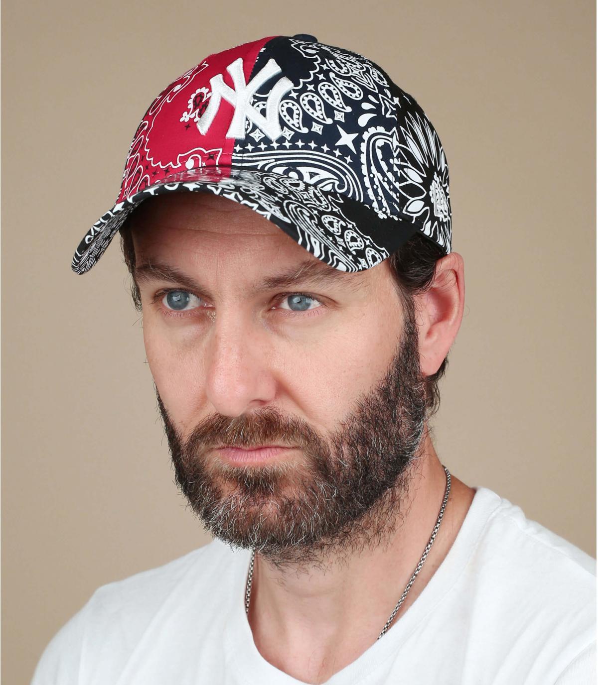 cappellino NY bandana rosso nero