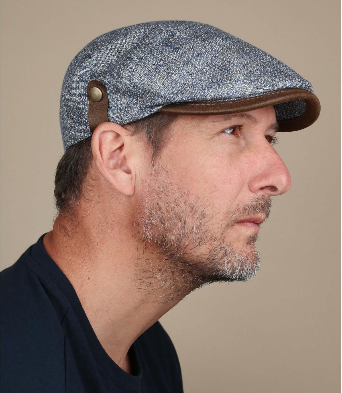 berretto di seta di lino blu