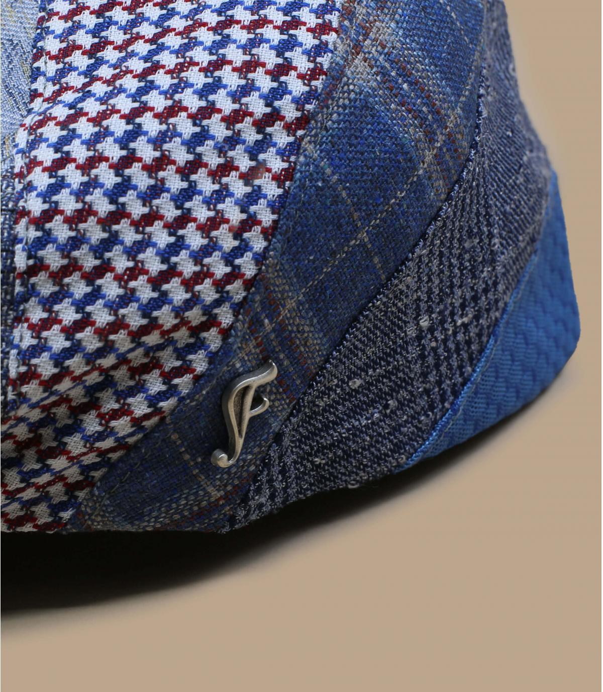 berretto patchwork in seta e lino