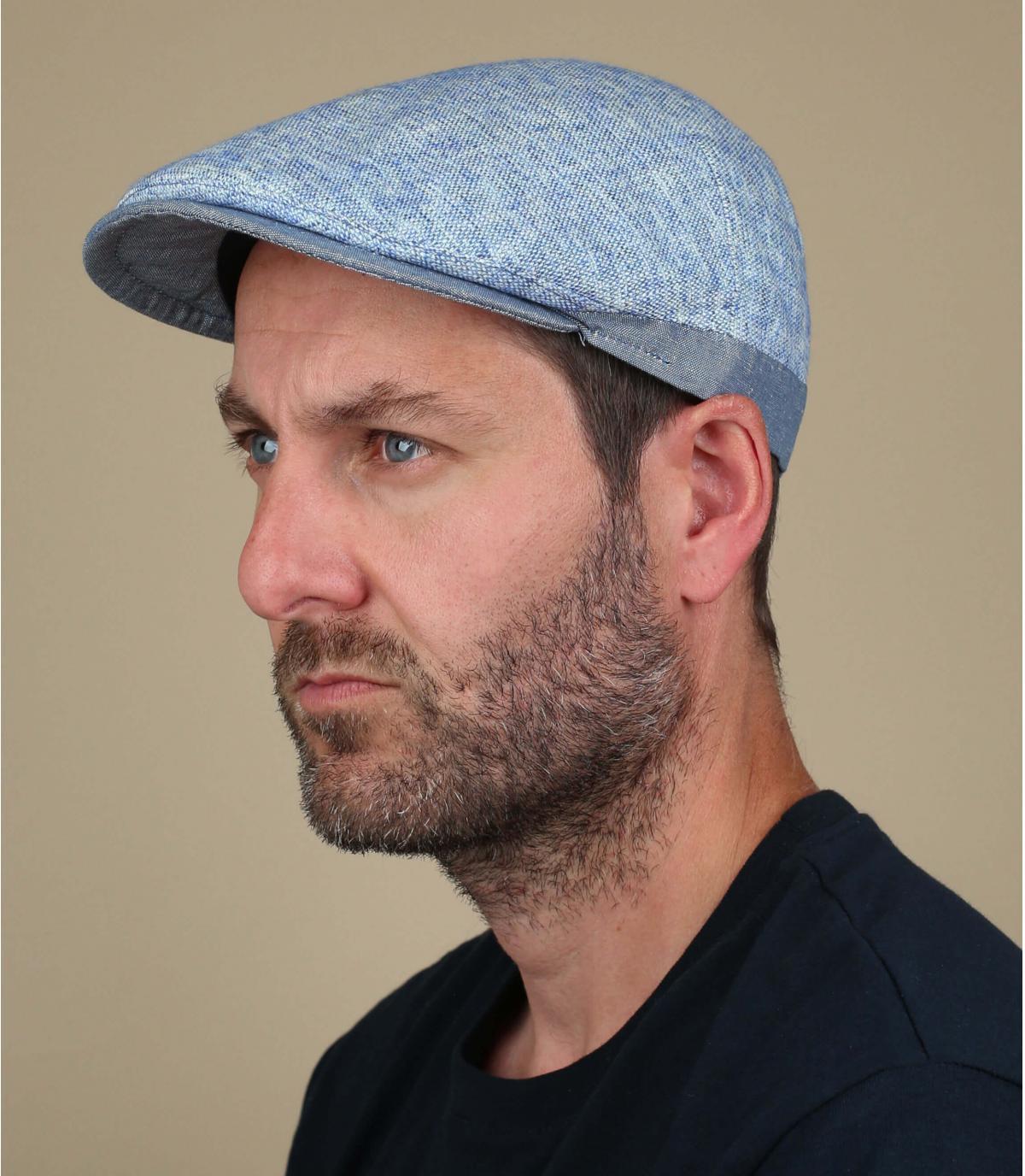 berretto in cotone e lino blu