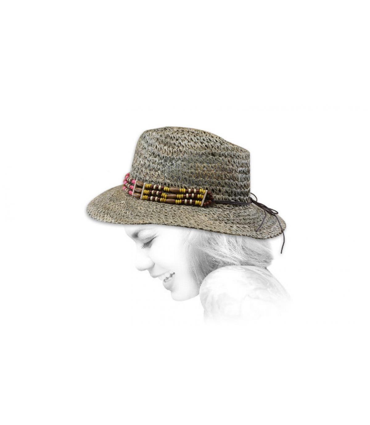 cappello di paglia perlato