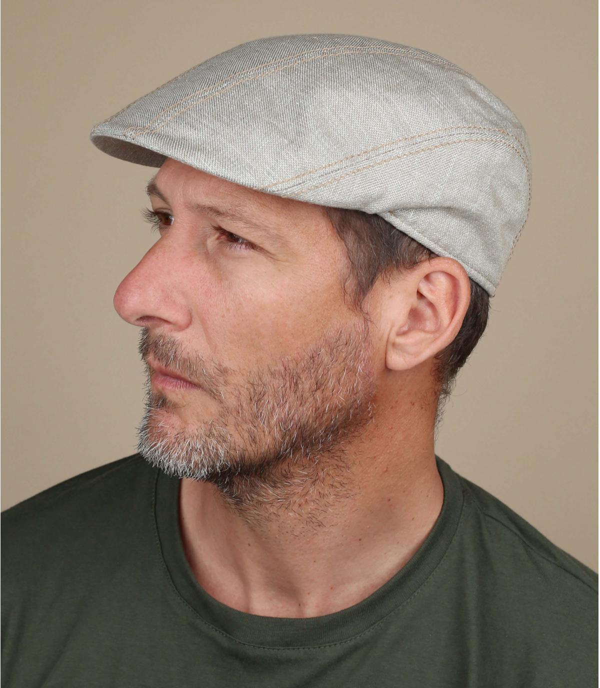 berretto di cotone di lino beige