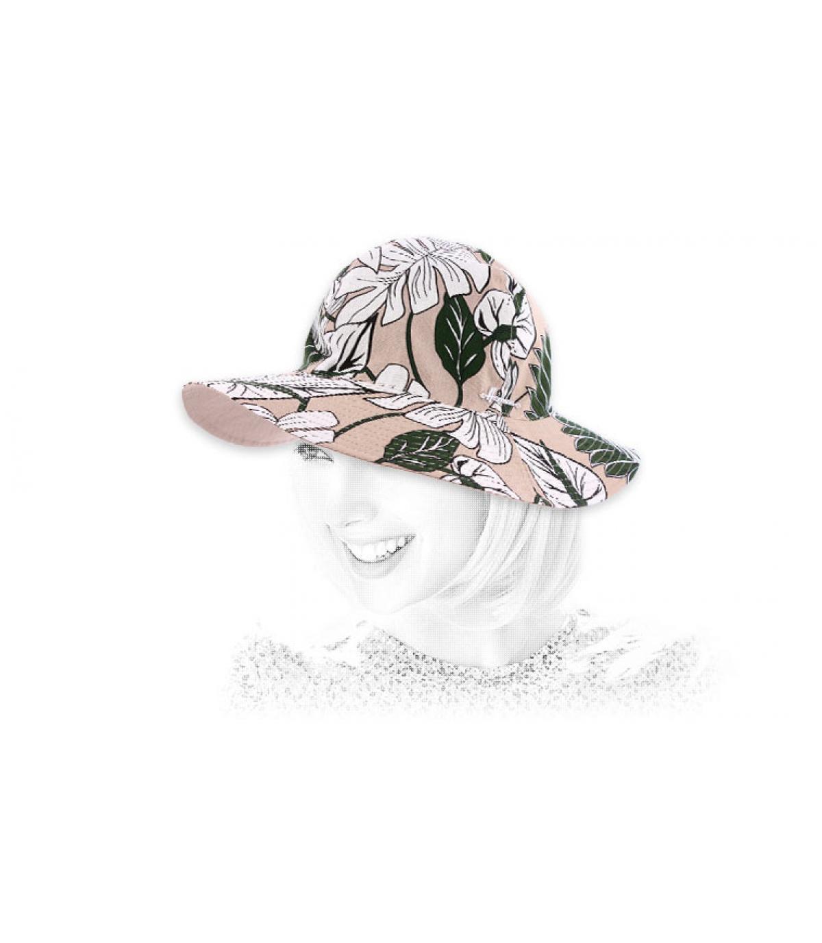 cappello in cotone stampa fiori