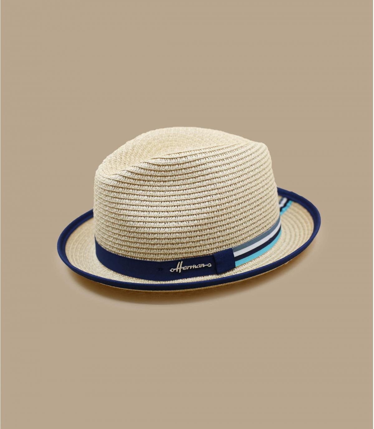 cappello di paglia con dettagli a contrasto