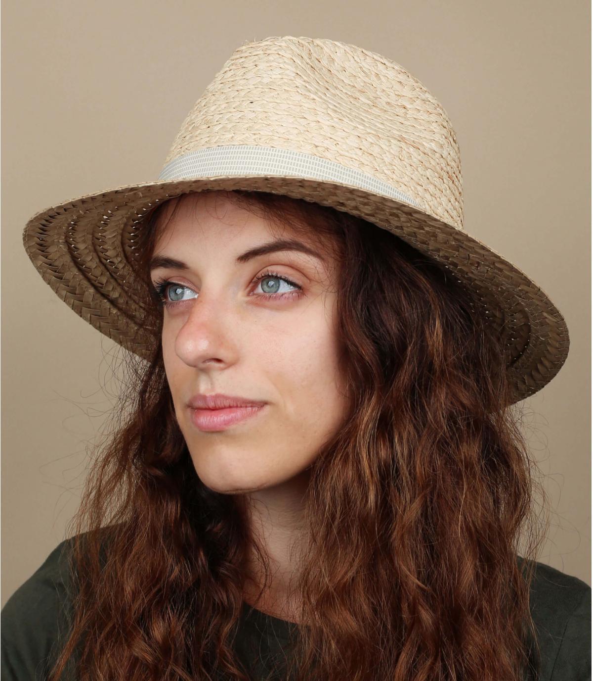 cappello di paglia bicolore donna