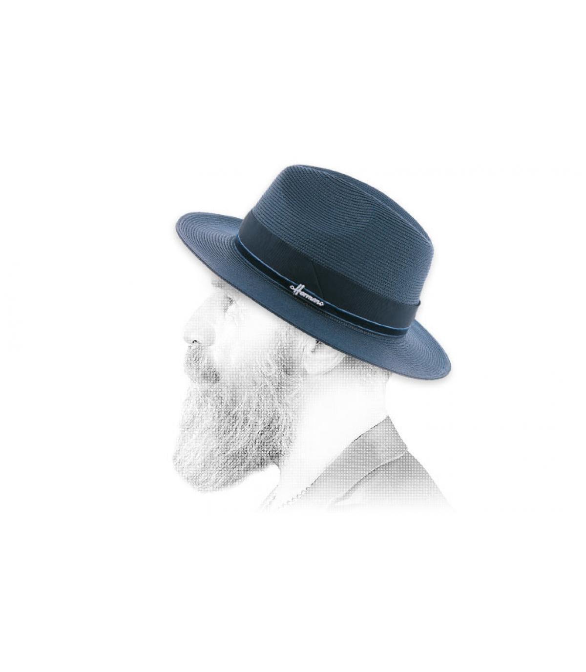 cappello di paglia blu scuro idrorepellente