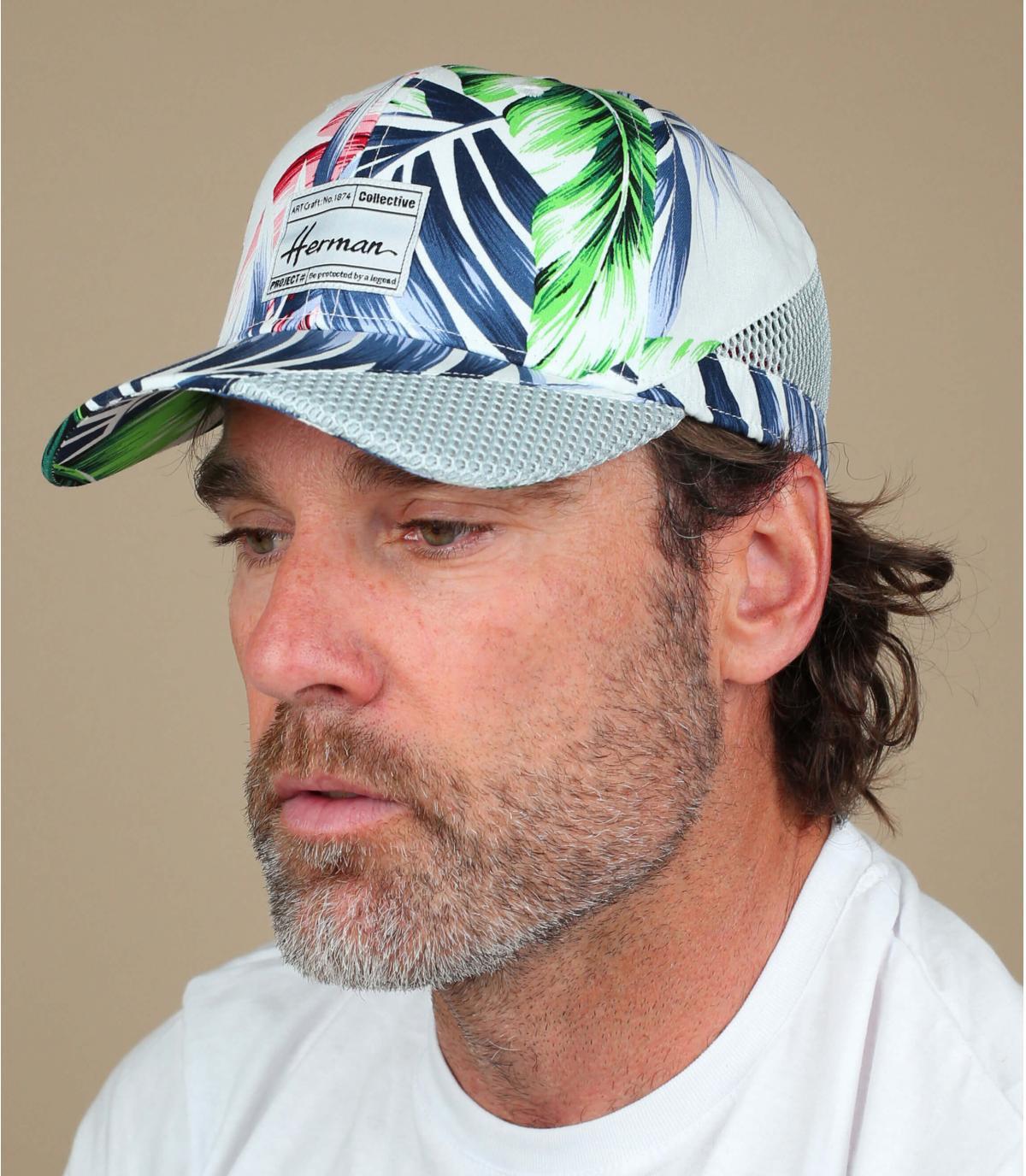 cappello stampa fiore bianco