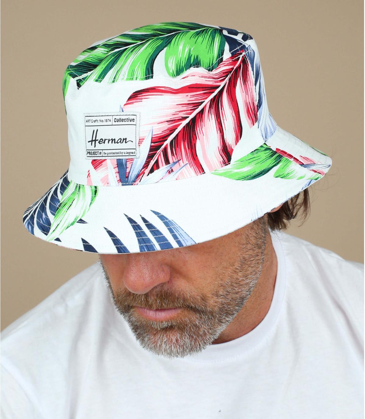 bob bianco con stampa di piante