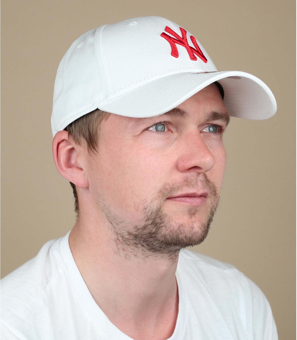 cappellino NY bianco rosso