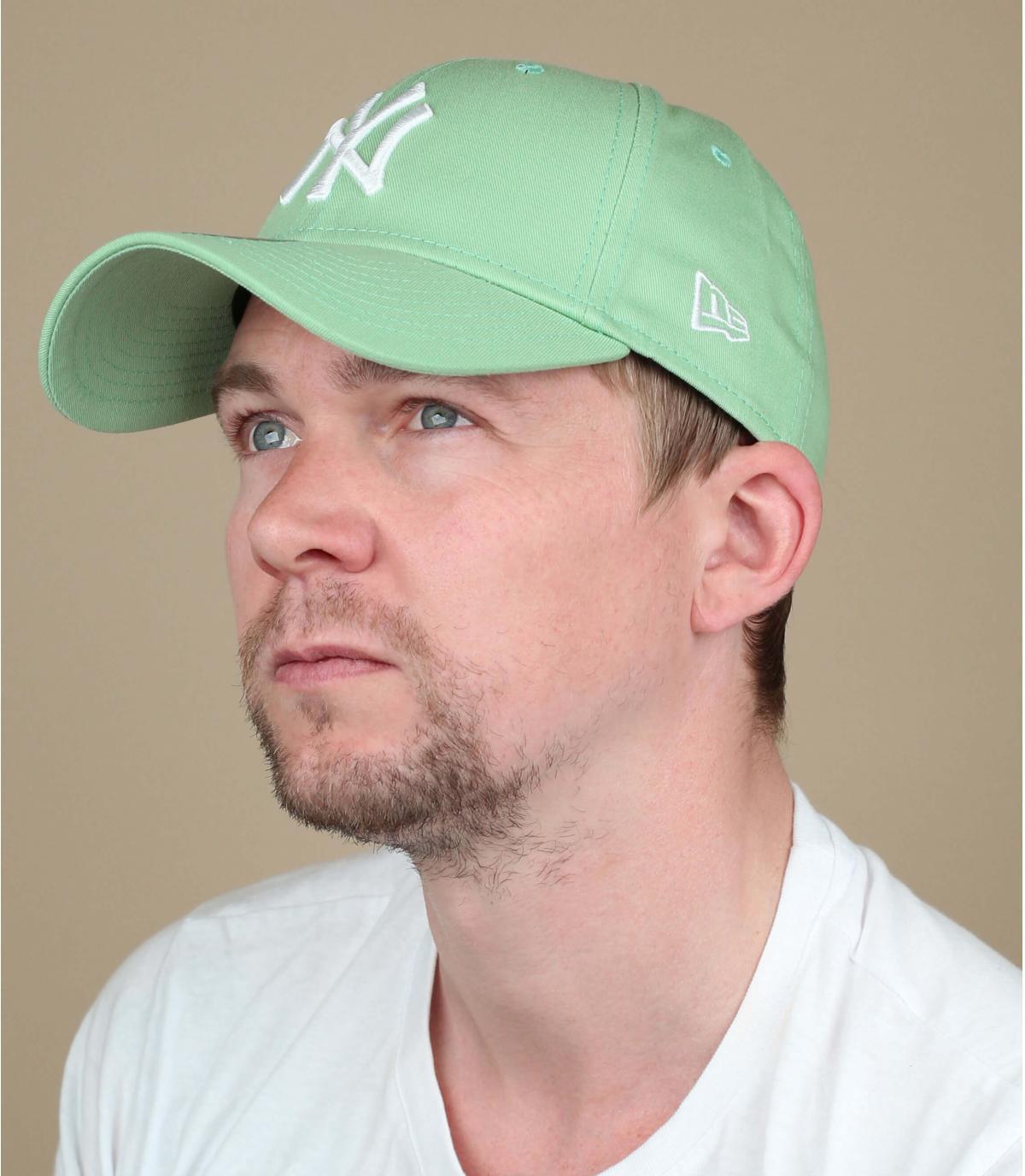 Cappellino bianco verde NY