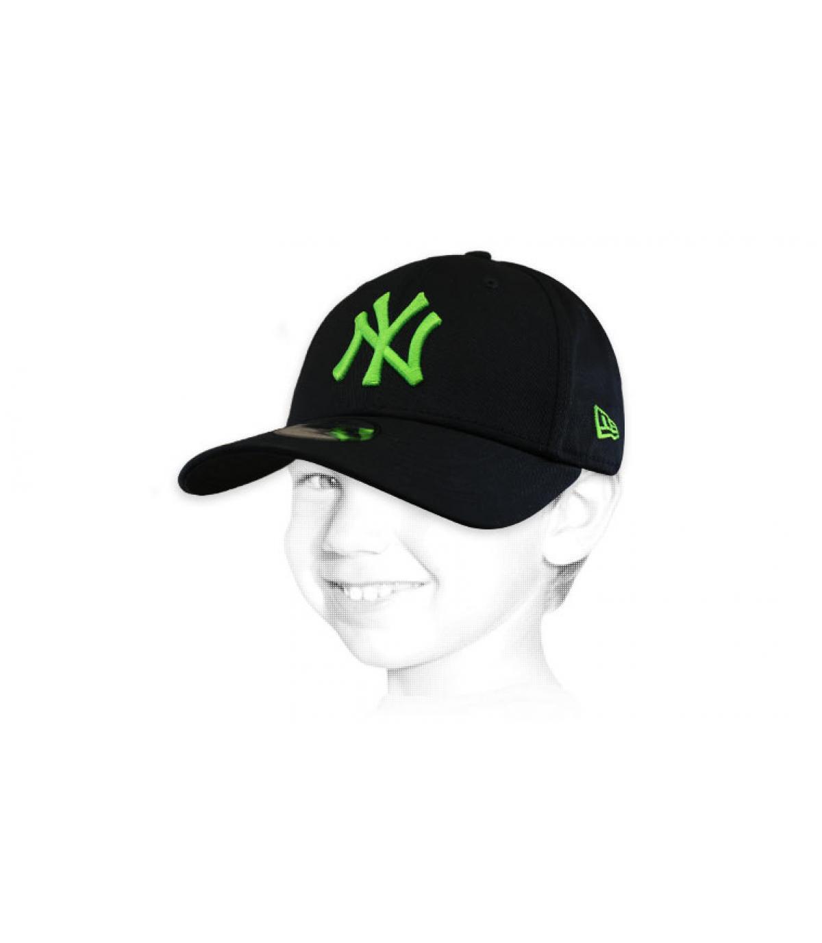 Cappellino NY verde nero per bambini