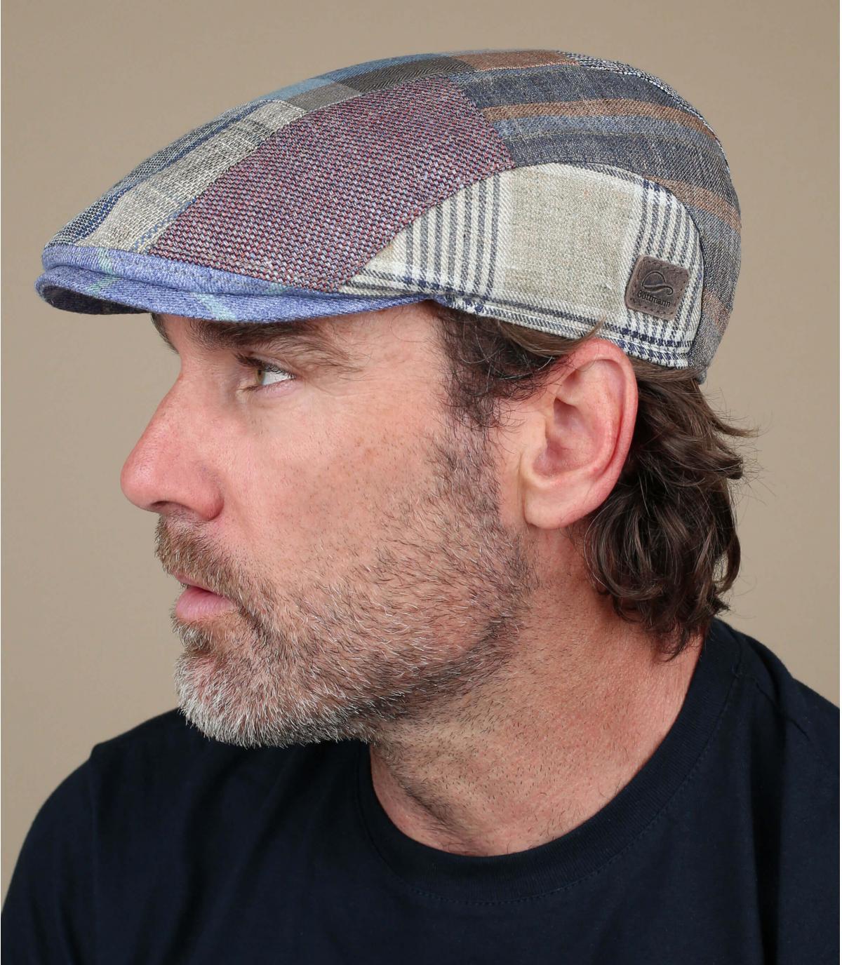 berretto patchwork di lino