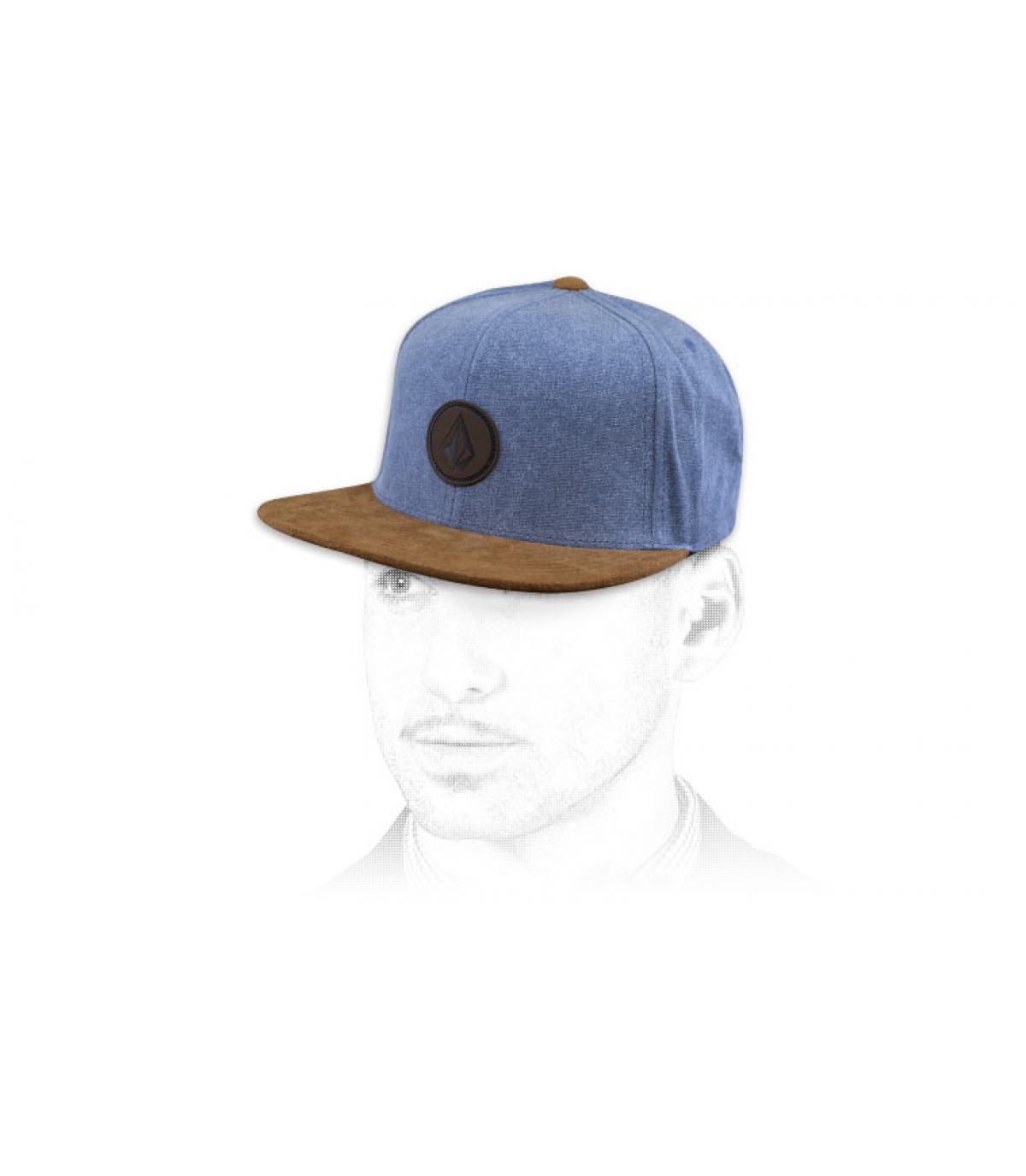 Snapback Volcom in camoscio grigio blu