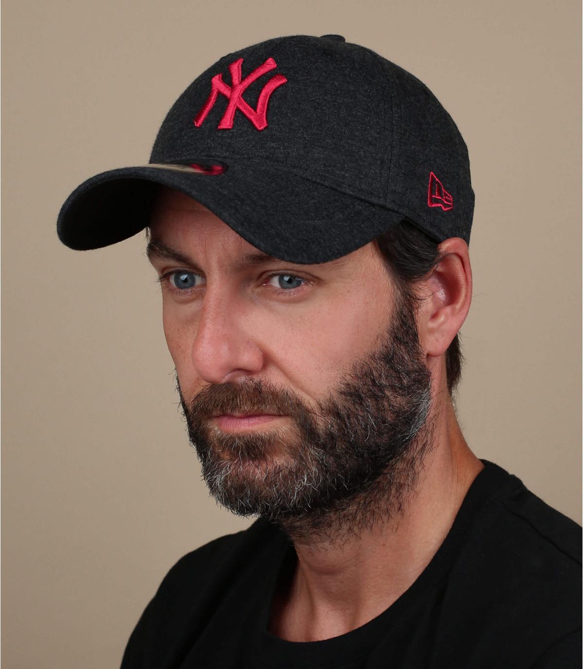 Cappellino rosso nero NY