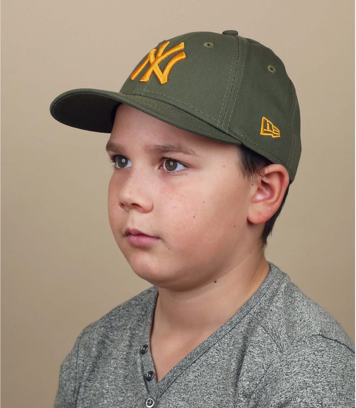 Cappellino da bambino giallo verde NY