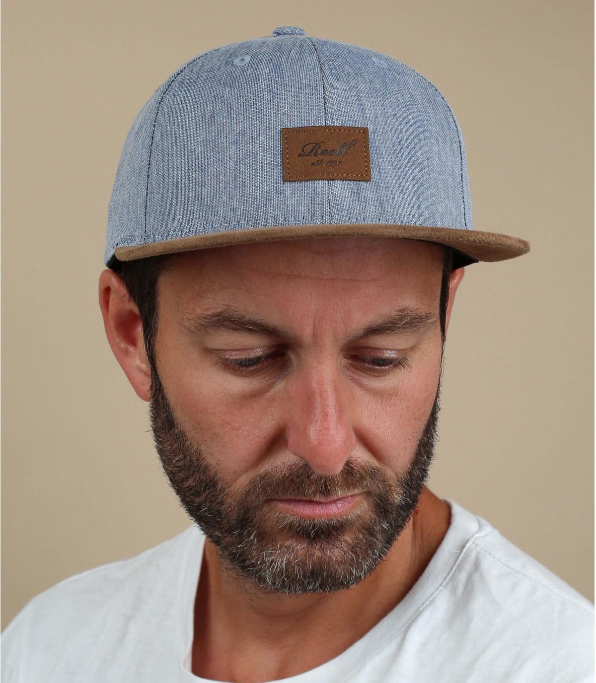 Cappellino Reell in camoscio blu melange