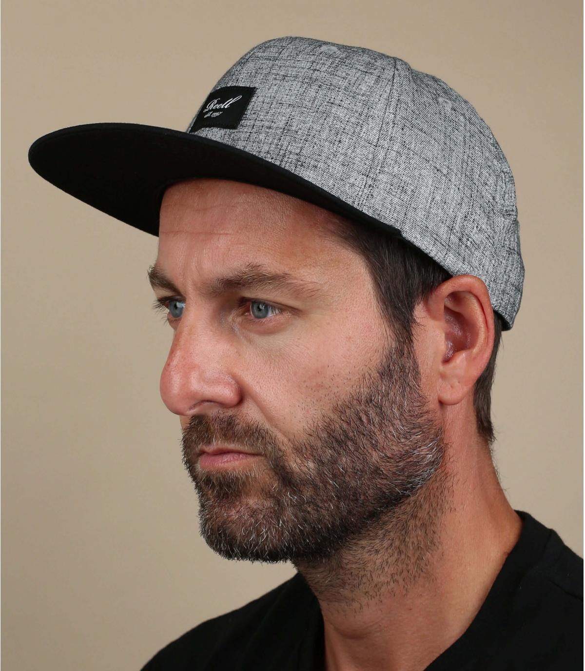 Cappellino Reell nero grigio melange