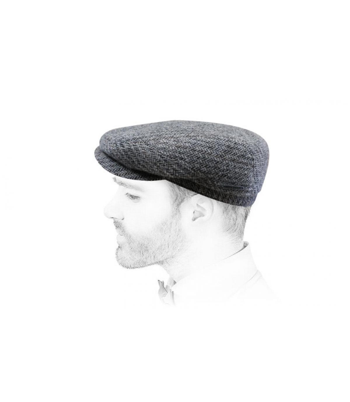 Berretto di lana grigio chevron
